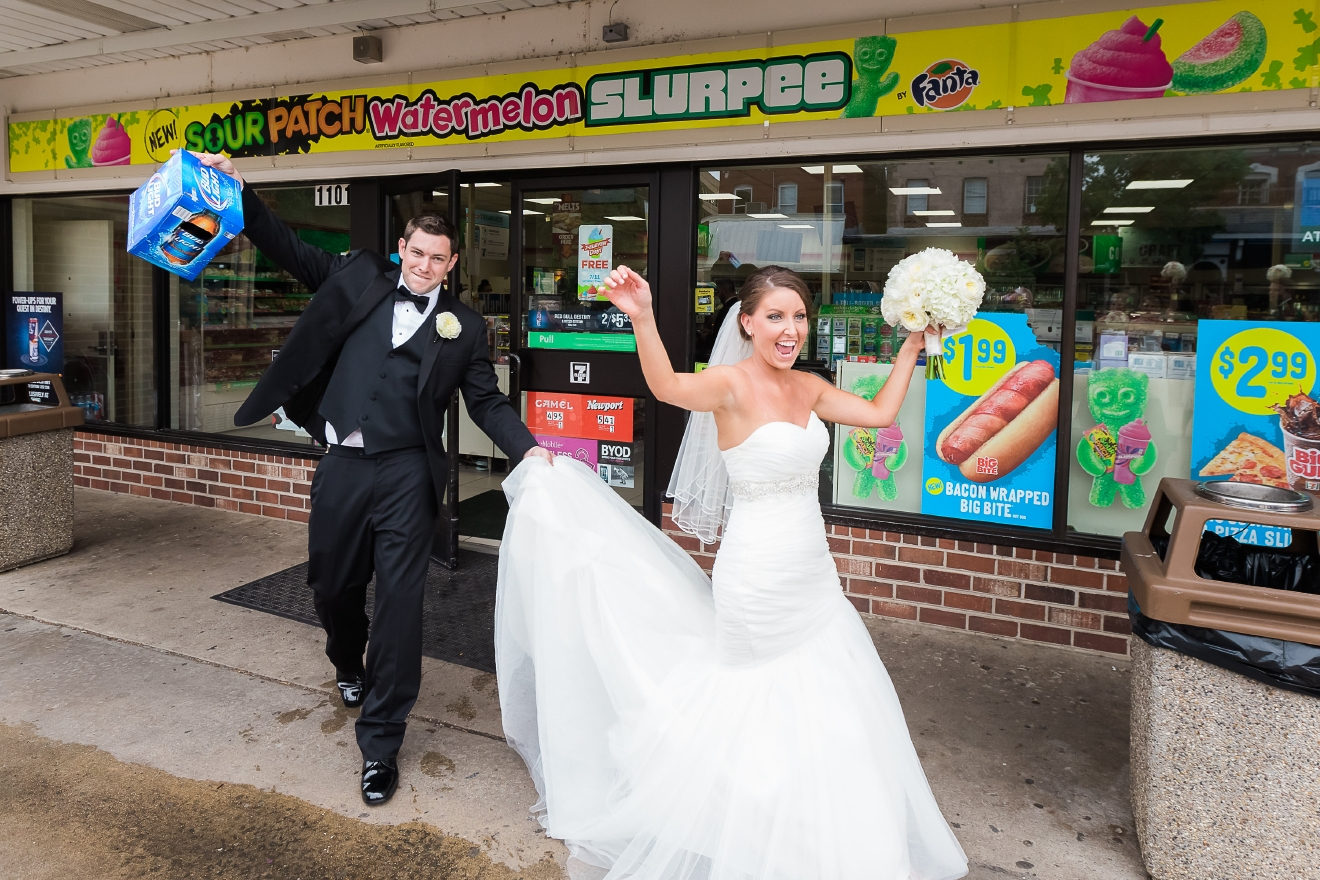 The couple tied the knot on July 11th (7/11) so they thought it was fitting to stop by the local 7/11 and grab some Slurpees. (Don Mears Photography)