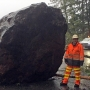 Highway 101 blocked by giant boulder along Lake Crescent