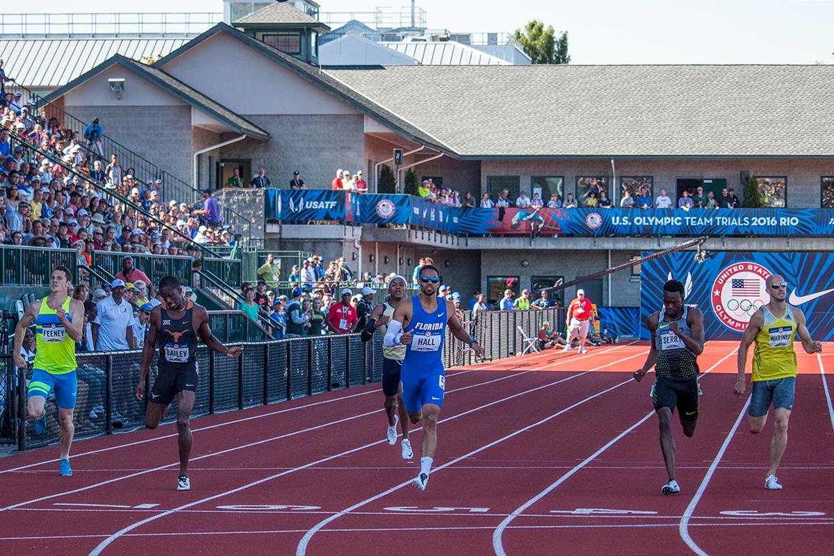 Runners compete in the second heat of the prelims for the men�s 400 meter dash. Florida Gator Geno Hall qualified for the finals after placing first with a 45.61 second run. Day One of the U.S. Olympic Trials Track and Field began on Friday at Hayward Field in Eugene, Ore. and will continue through July 10. Photo by Katie Pietzold