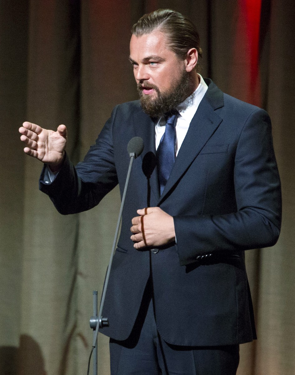 In this Sept. 21, 2014 file photo, actor and activist Leonardo DiCaprio speaks after accepting an award at the Clinton Global Citizen Awards dinner in New York. DiCaprio raised $40 million to help save the planet an auction in Saint Tropez, France, on Wednesday, July 22, 2015. (AP Photo/Craig Ruttle, File)