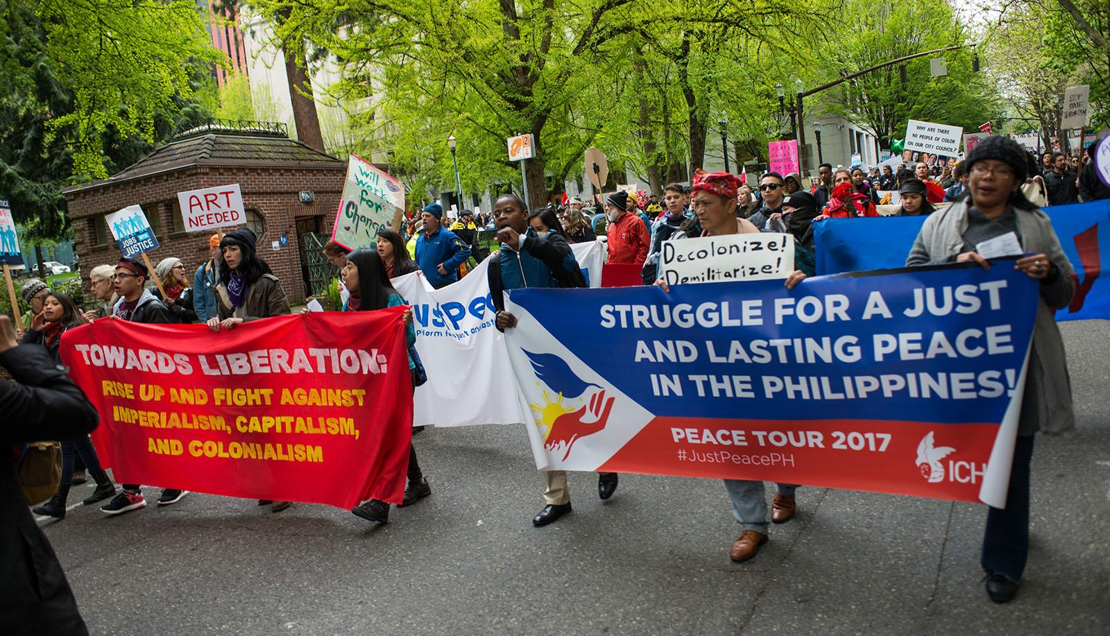 Hundreds gathered at Shemanski Park in Southwest Portland for a May Day political rally and march in support of workers' rights, immigrants, and several other causes. The march took a violent turn at the hands of some participants, ultimately prompting Portland Police to pull the permit. (KATU photo May 1, 2017 by Tristan Fortsch)