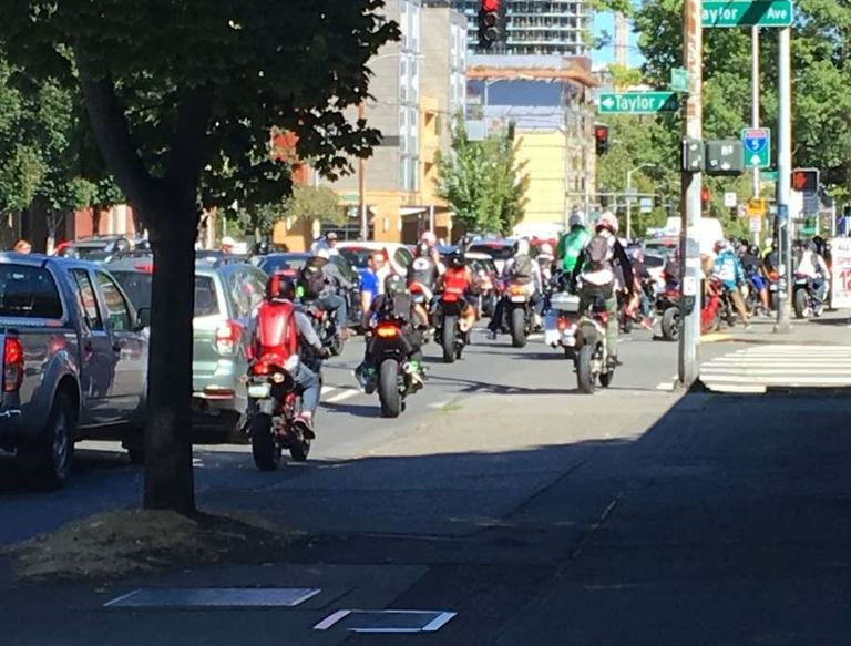 Motorcycles took over the streets of Seattle on Aug. 26. (KOMO file photo)<p></p>