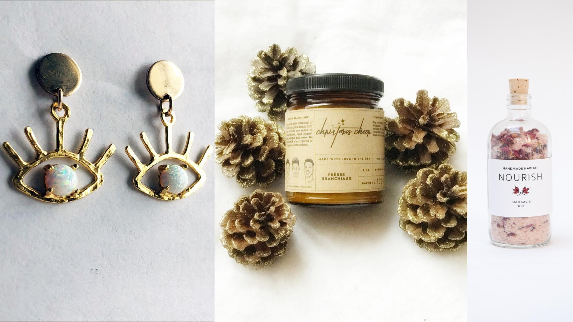If you're still searching for the perfect gift for that fashion/beauty-obsessed lady or gent in your life, we've rounded up 12 great options sure t wow them. Bonus: All of these purchases support local businesses! (Images: Courtesy Rachel Pfeffer,{&nbsp;}Frères Branchiaux Candle Company and Handmade Habitat){&nbsp;}<p></p>