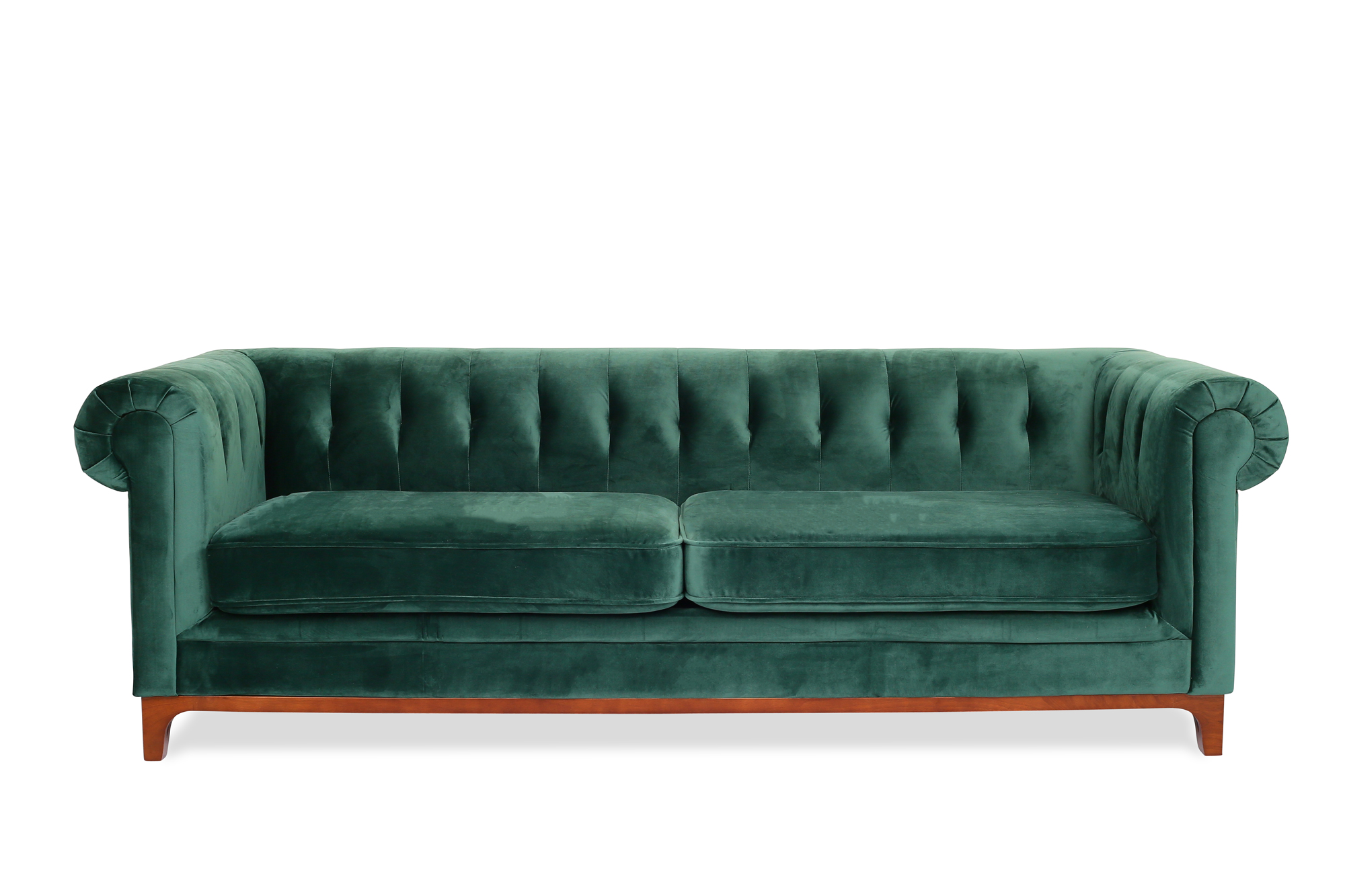 Bring charm and class to your home with this emerald sofa by Edloe Finch. (View at bit.ly/Edloe-Finch)