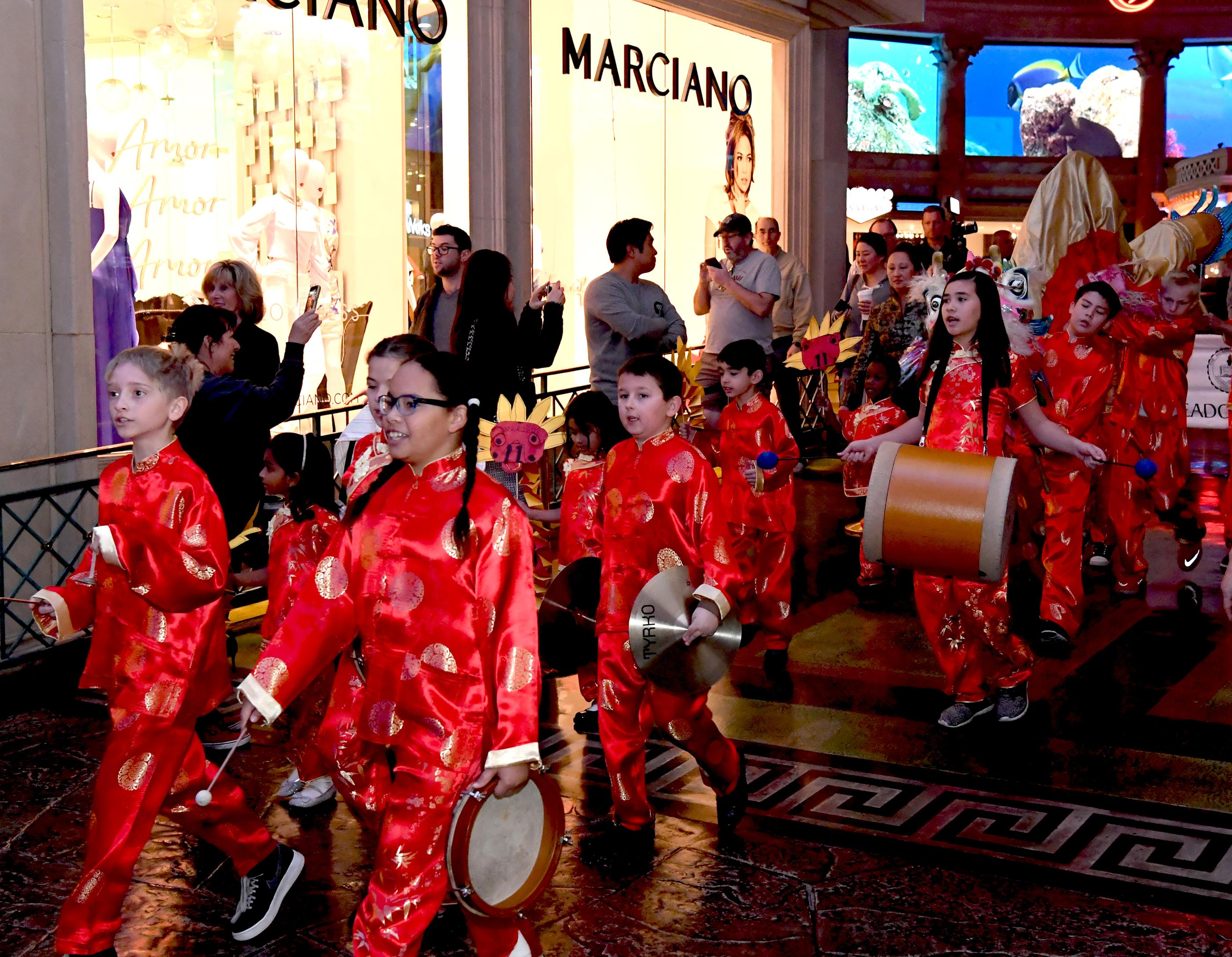 Meadows School 22nd Annual Dragon Parade in honor of Chinese New Year, the Year of the Dog, at Caesars Forum Shops. Thursday, February 16, 2018. CREDIT: Glenn Pinkerton/Las Vegas News Bureau