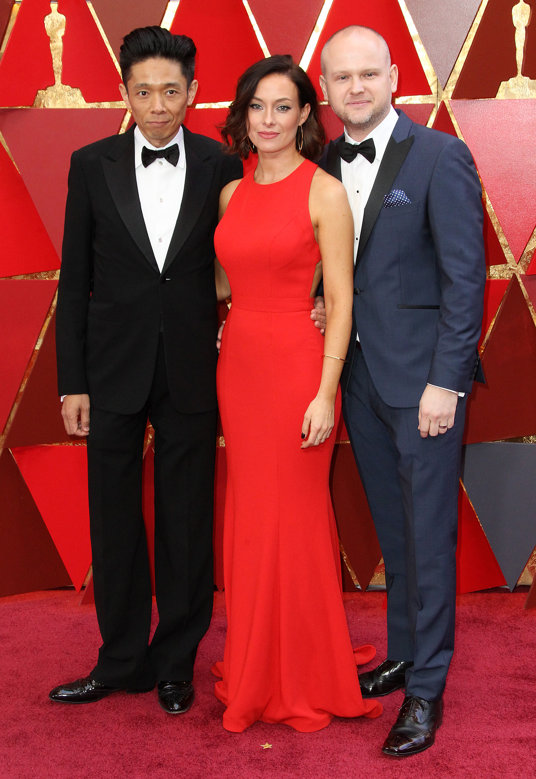 Kazuhiro Tsuji, Lucy Sibbick and David Malinowski{&amp;nbsp;}arrive at the 90th Annual Academy Awards (Oscars) held at the Dolby Theater in Hollywood, California. (Image: Adriana M. Barraza/WENN.com)<p></p>