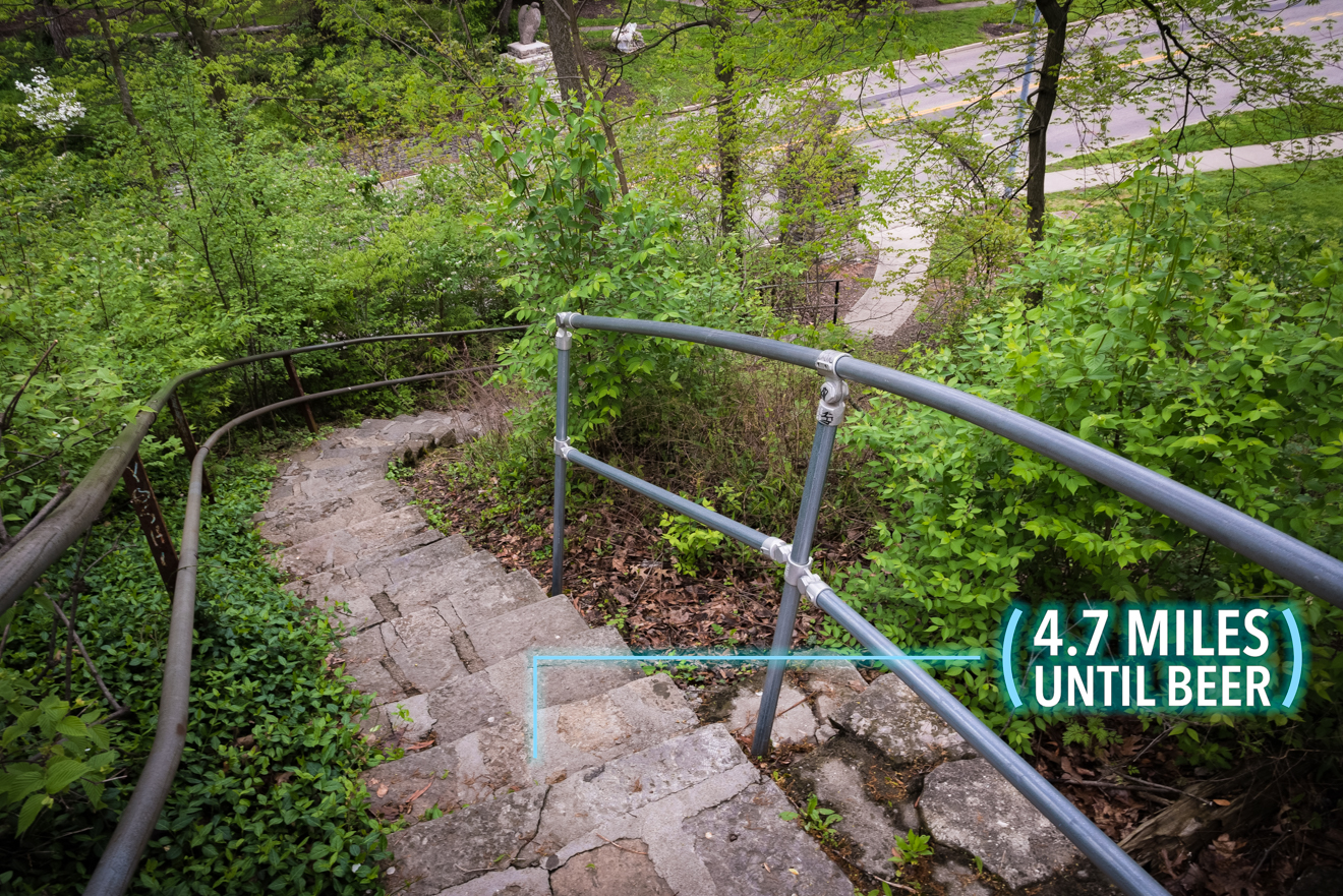 After you cross the bridge, take the winding stairs on the left down to Eden Park Drive. / Image: Phil Armstrong, Cincinnati Refined // Published: 4.25.17