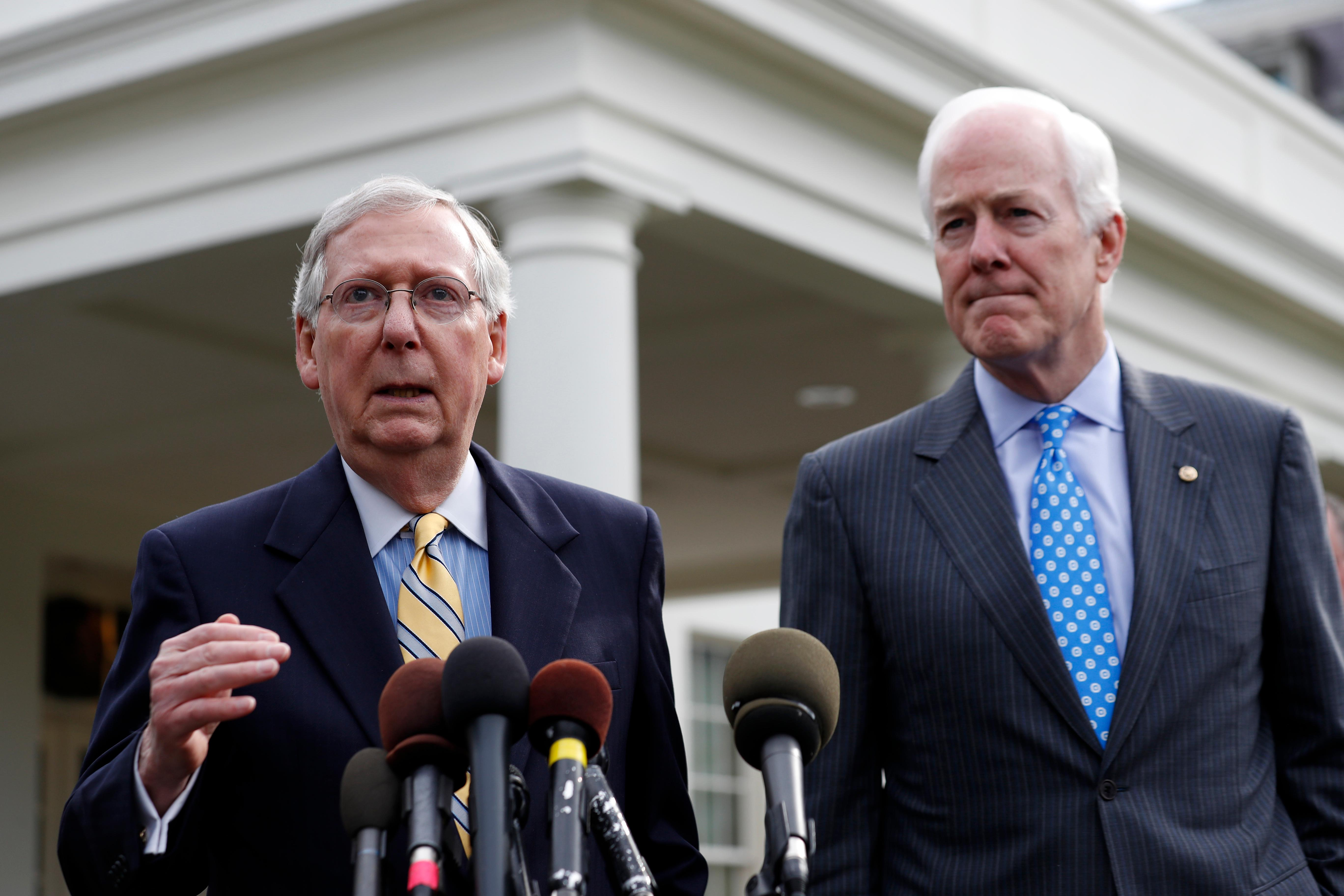 Senate Majority Leader Mitch McConnell of Ky., left, and Senate Majority Whip Sen. John Cornyn, R-Texas speak with the media after they and other Senate Republicans had a meeting with President Donald Trump at the White House, Tuesday, June 27, 2017, in Washington. (AP Photo/Alex Brandon)
