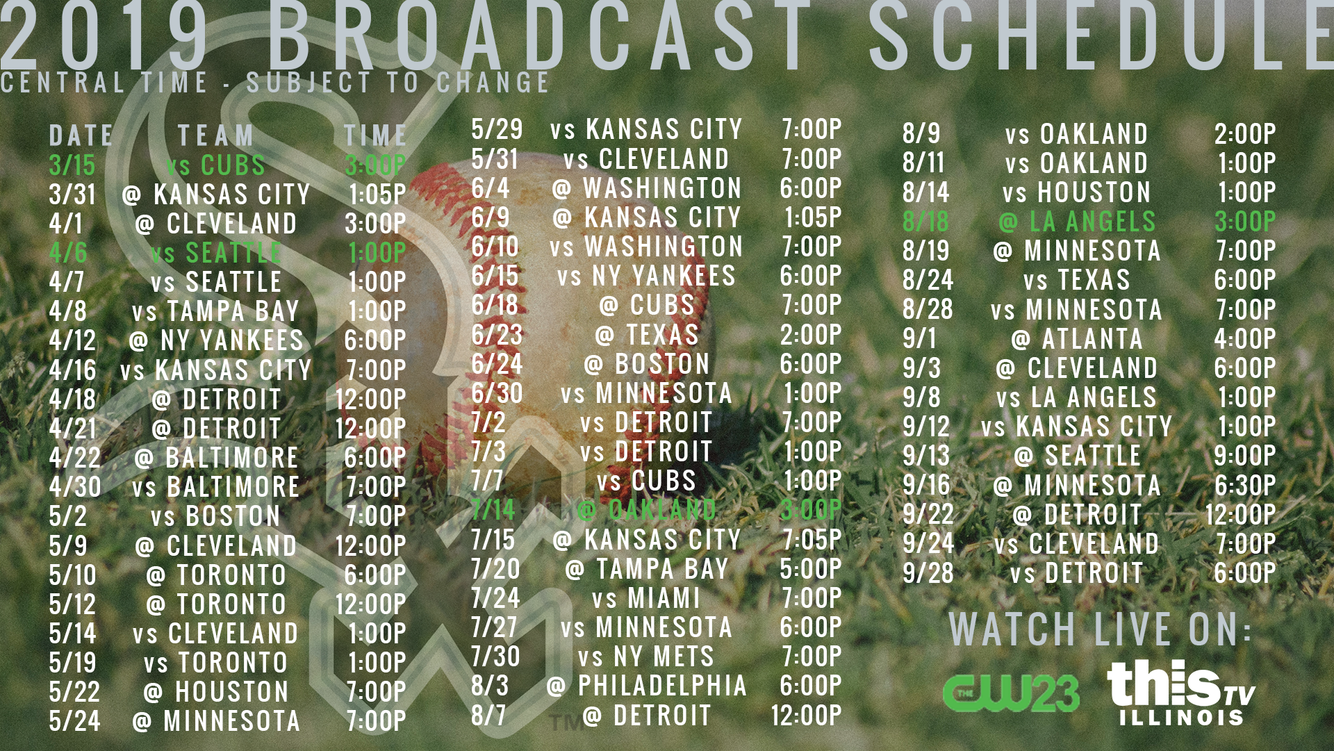 Watch live game broadcasts on CW23 and ThisTV in your local area.