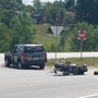 Multiple injuries in highway motorcycle crash
