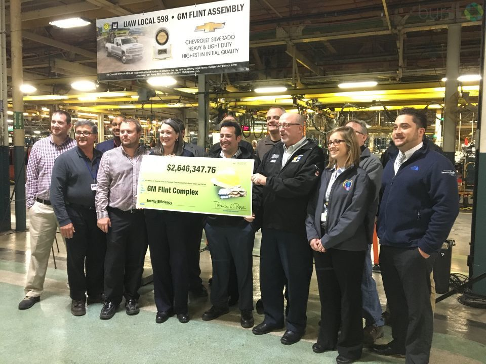 The General Motors Flint complex received a $2.6 million incentive payment from Consumers Energy for their energy efficiency upgrades Wednesday. (Photo Credit: Marketia Bady)<p></p>