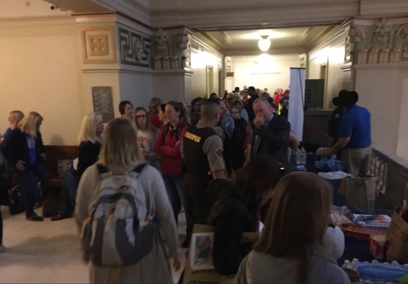 Oklahoma Capitol packed to capacity as teacher walkout enters second week. (KOKH/Shardaa Gray)