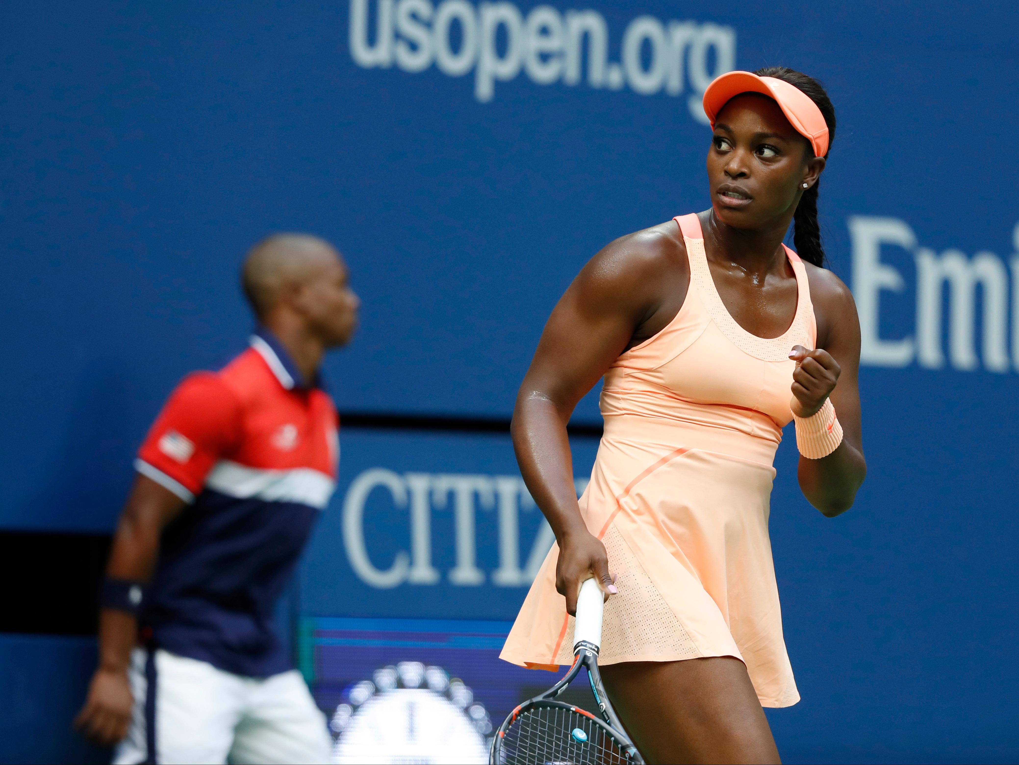 Sloane Stephens, of the United States, reacts after scoring a point against Madison Keys, of the United States, during the women's singles final of the U.S. Open tennis tournament, Saturday, Sept. 9, 2017, in New York. (AP Photo/Adam Hunger)