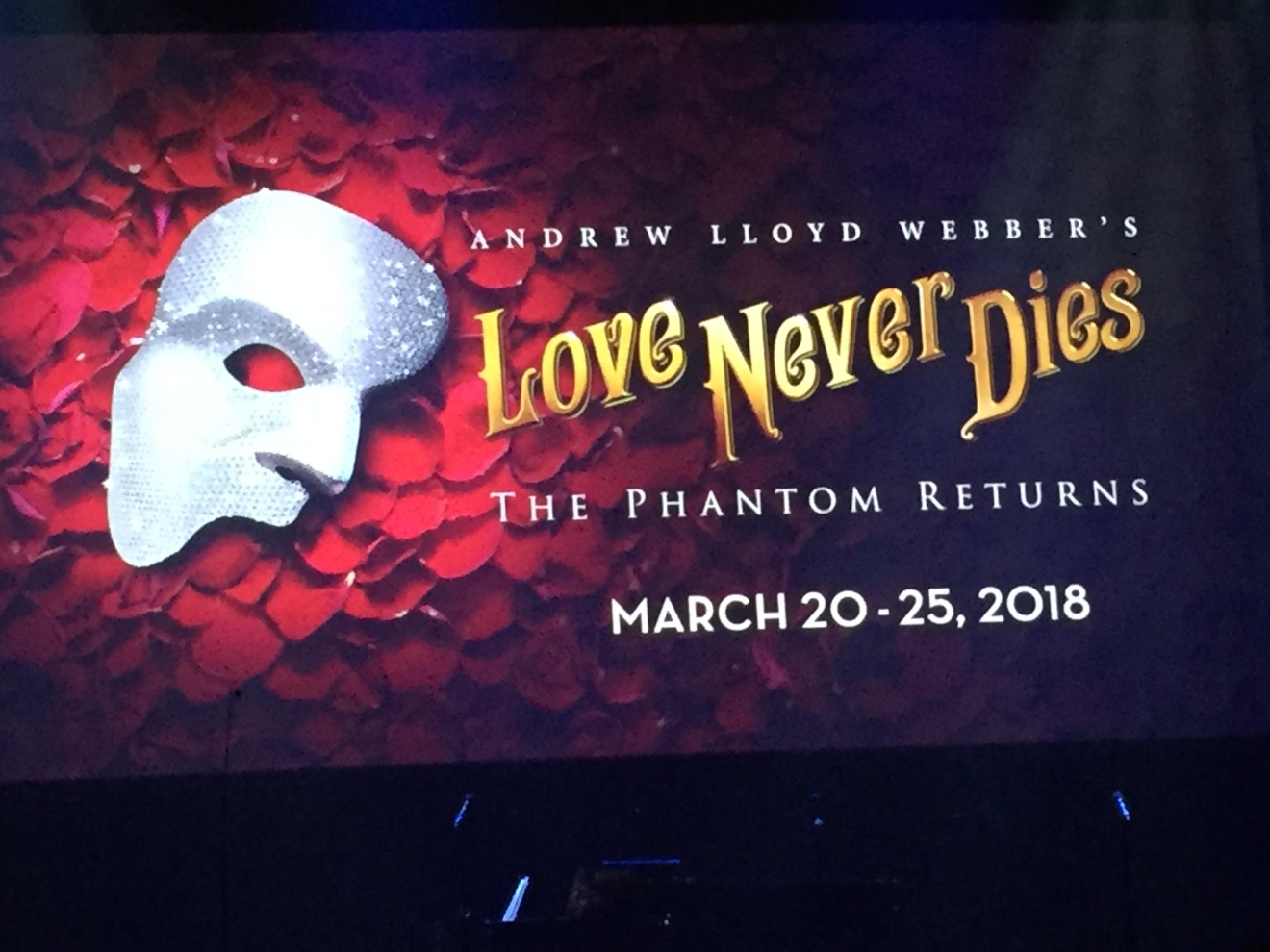 Andrew Lloyd Webber's Love Never Dies, the sequel to Phantom of the Opera, was revealed as an upcoming tour during the Smith Center for the Performing Arts 2017-2018 Broadway series preview Tuesday, Feb. 28, 2017, in Reynolds Hall. It will run in Las Vegas from March 20-25, 2018 (Jami Seymore | KSNV)