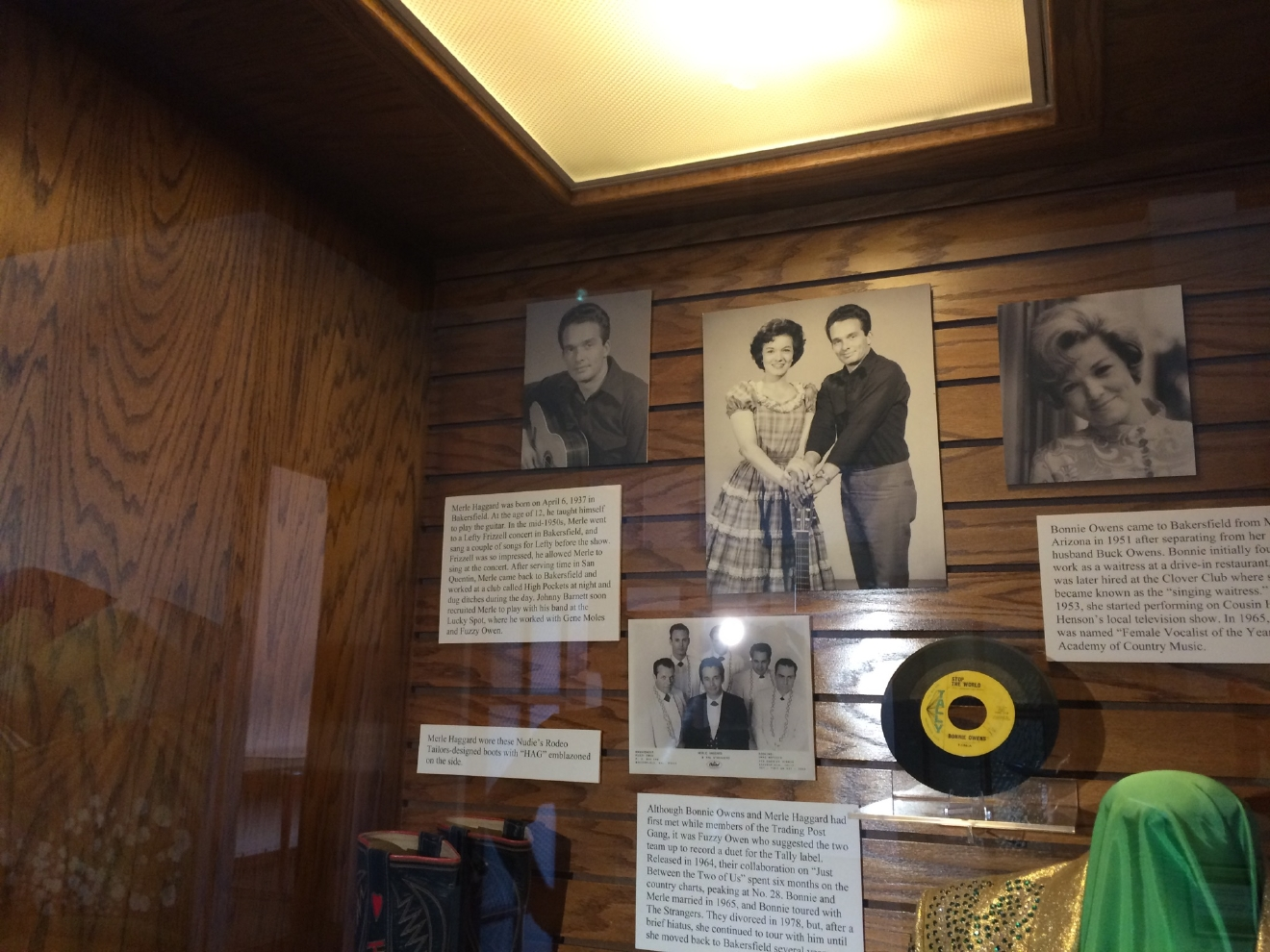 A display on Merle Haggard is seen Wednesday, April 6, 2016, at the Kern County Museum in Bakersfield, Calif. Music legend Haggard died Wednesday at the age of 79. (KBAK/KBFX photo/Carol Ferguson)