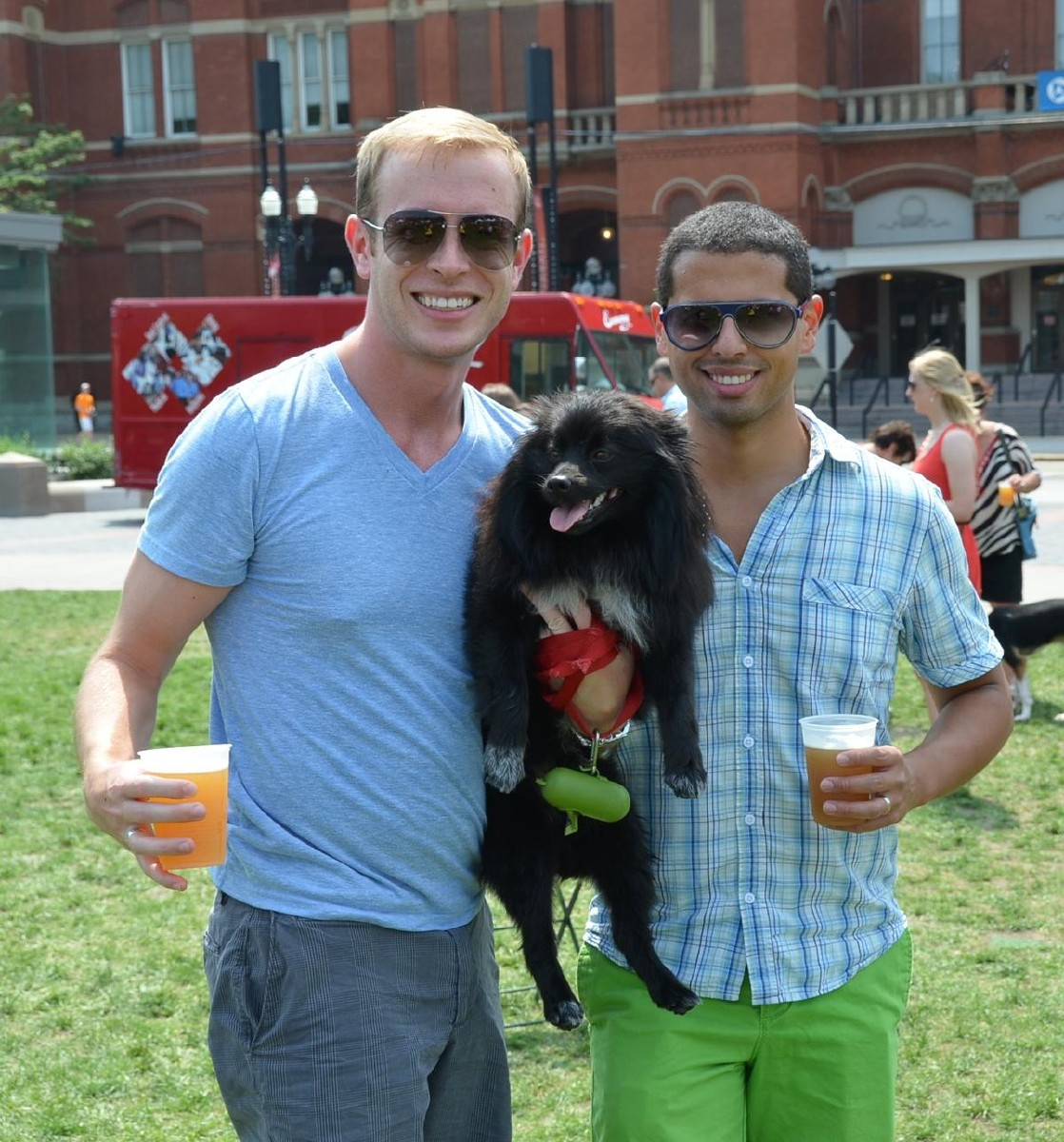 Ethan Fletcher, Andrew Hickman, and Pompom the dog (Image: Leah Zipperstein / Cincinnati Refined)