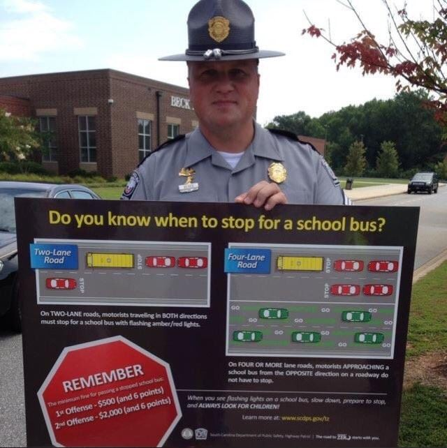Sgt. Bob Beres with the South Carolina Highway Patrol wants all drivers to know when they must stop for a school bus. (Photo: WCIV / South Carolina Department of Public Safety, Highway Patrol)