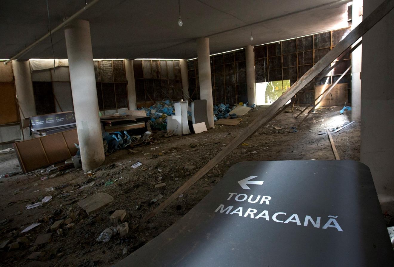 This Feb. 2, 2017 photo shows the inside of Maracana stadium in Rio de Janeiro, Brazil. The stadium was renovated for the 2014 World Cup at a cost of about $500 million, and largely abandoned after the Olympics and Paralympics, then hit by vandals who ripped out thousands of seats and stole televisions. (AP Photo/Silvia Izquierdo)