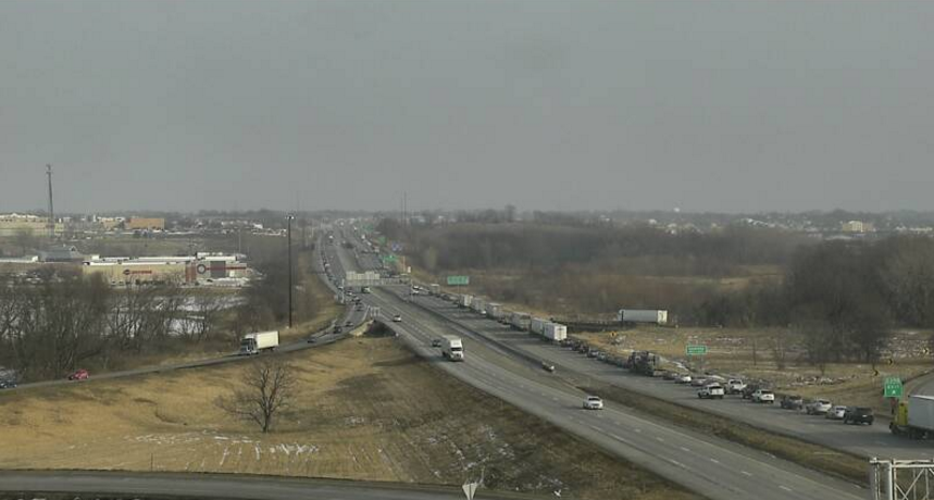 Traffic backed up from a fatal accident on I-80 EB. Photo courtesy Iowa DOT.