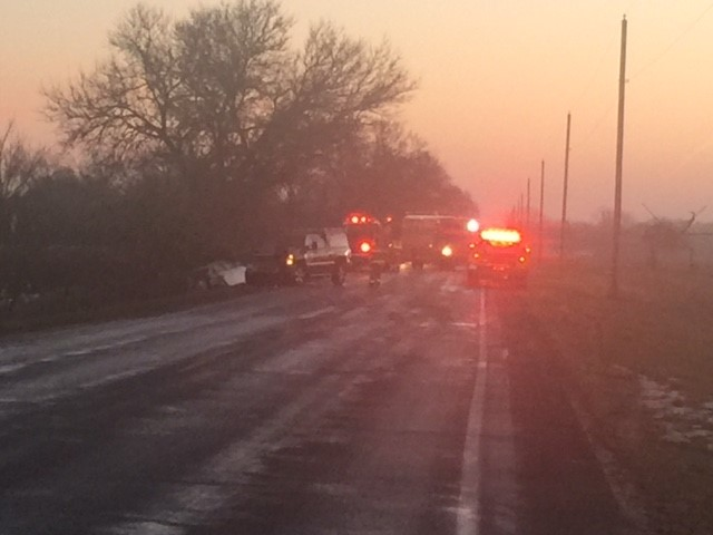 W Avenue near 16th Street is shut down Tuesday morning for a series of crashes on slick roads. (WWMT/Jessica Wheeler)