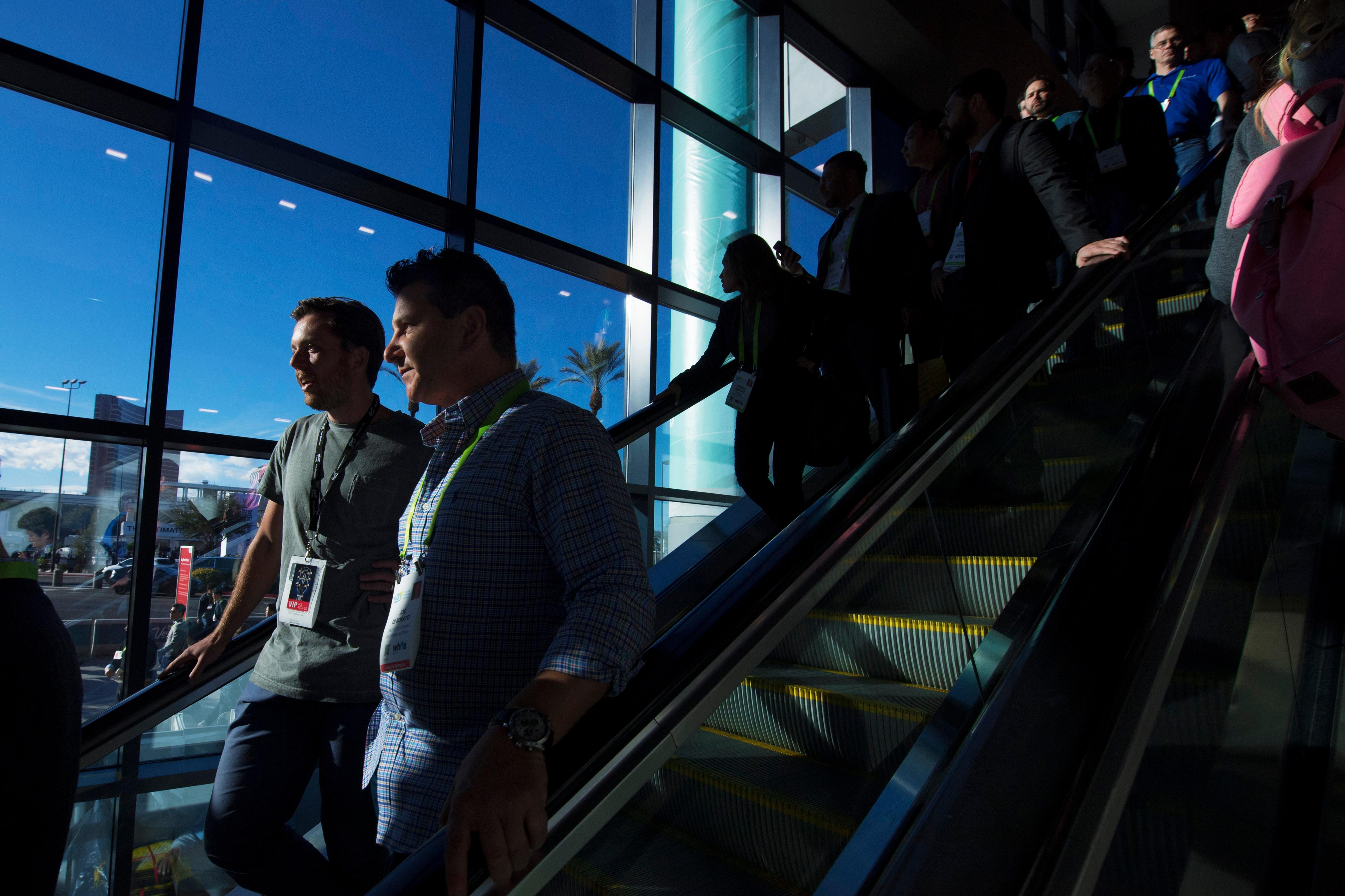 Attendees ride the escalator in the South Hall of the Las Vegas Convention Center during the second day of CES Wednesday, January 10, 2018. CREDIT: Sam Morris/Las Vegas News Bureau