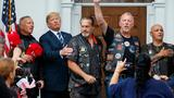 Rain pouring, Trump rages on Twitter and hangs with bikers