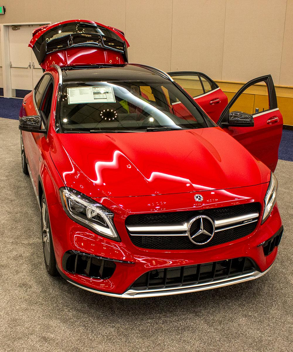 Mercedes 2018 AMG GLA45  - The Portland International Auto Show began at the Oregon Convention Center on Jan. 25, 2018. The event drew prospective buyers and others who enjoyed looking at and comparing vehicles. Photo by Amanda Butt