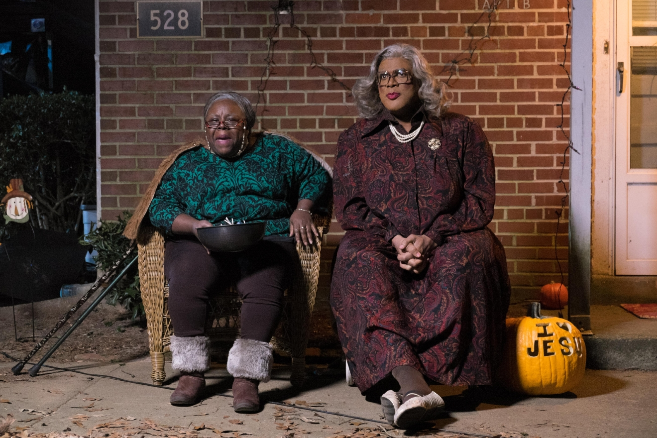 "Aunt Bam (Cassi Davis, left) and Madea (Tyler Perry, center) in ""Boo! A Madea Halloween."" (Photo: Dan McFadden)"
