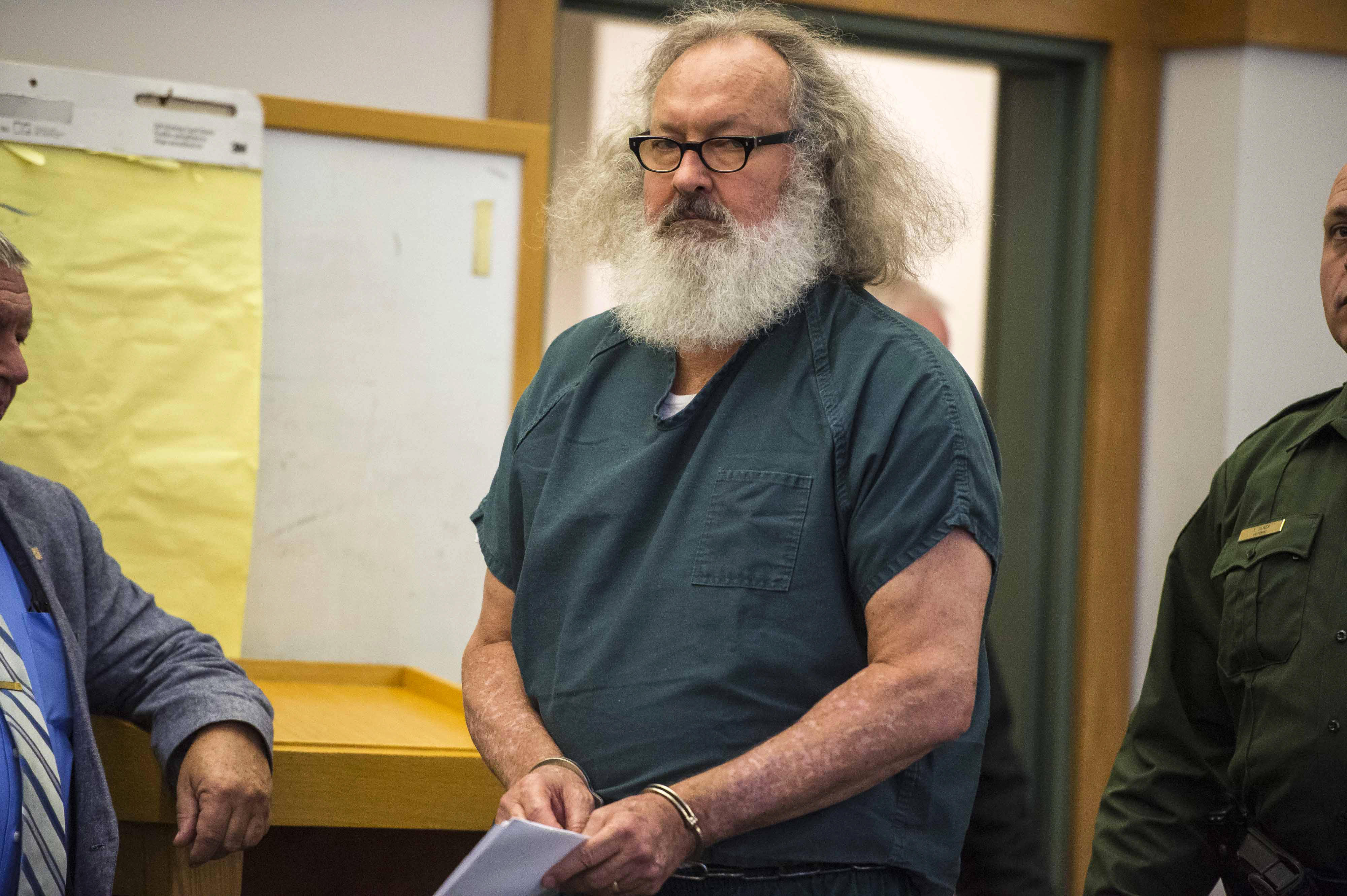 Actor Randy Quaid appears in Vermont Superior Court in St. Albans, Vt., on Thursday, Oct. 15, 2015. A Vermont judge has released Quaid and his wife Evi from custody and the couple says they'll now address 5-year-old criminal charges in California. (Glenn Russell The Burlington Free Press via AP, Pool)