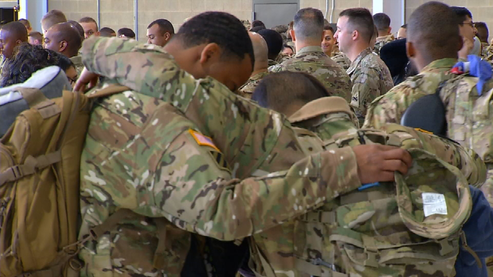 Friends and family say goodbye to members of the 1st Battalion, 501st Aviation Regiment, Combat Aviation Brigade.  On March 1, the Fort Bliss soldiers left for a nine month deployment to Europe in support of Operation Atlantic Resolve.  Courtesy:  CBS4/KFOX14