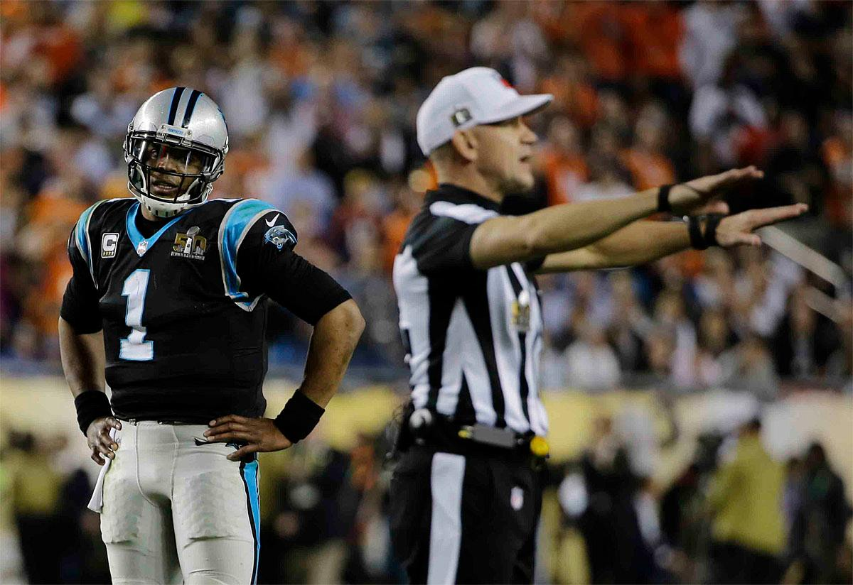 Carolina Panthers' Cam Newton (1) watches as referee Clete Blakeman signals a call during the second half of the NFL Super Bowl 50 football game against the Denver Broncos Sunday, Feb. 7, 2016, in Santa Clara, Calif. (AP Photo/David J. Phillip)