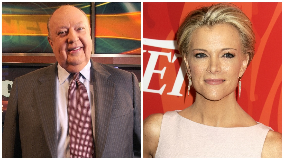 FILE - Roger Ailes, Megyn Kelly. Cropped photos courtesy (AP Photo/Jim Cooper, File) and (Dennis Van Tine/Future Image/WENN.com)