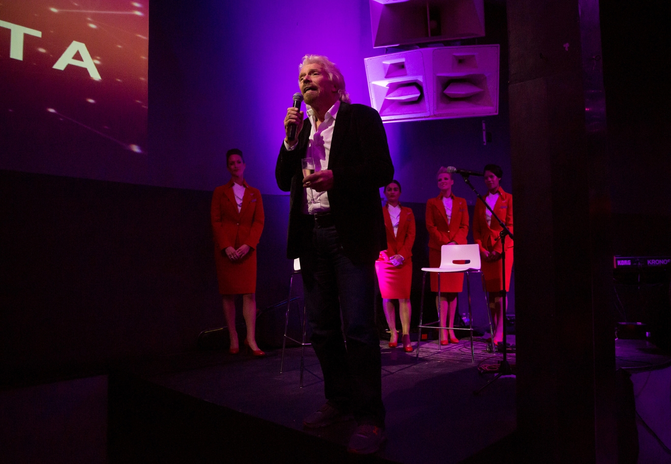 Sir Richard Branson at the #HelloSeattle Virgin Atlantic party at Q Nightclub, celebrating the airline's new route from London to Seattle. (Sy Bean / Seattle Refined)