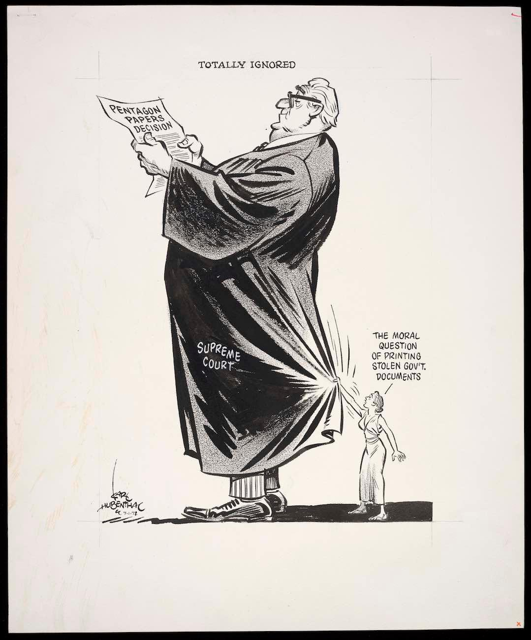 "Karl Hubenthal's ""Totally Ignored"" from 1971 / The 'Front Line' exhibit examines free speech through historical cartoons. / Image courtesy of Bill Ireland Cartoon and Library Museum // Published: 7.1.19"