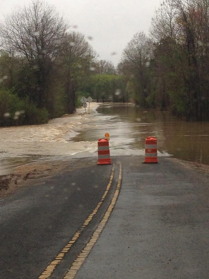 Flash flooding on Lindsey Loop Road in Bessemer, Ala., Monday, April 7, 2014.