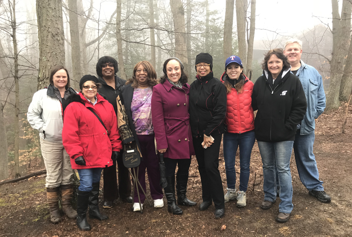 Left to right: Jane Cox - Chief, Cultural Resources Section, Anne Arundel County; Shelley Evans  - Descendant; Pam Brogden - Descendant; Nancy Daniels - Descendant; Erica Jones - Descendant; Wanda Watts - Descendant; Julie Schablitsky - MDOT SHA Chief Archaeologist; Kim Franklin - Local resident;Rodney Daff - Local resident (Courtesy: MDOT SHA)<p></p>