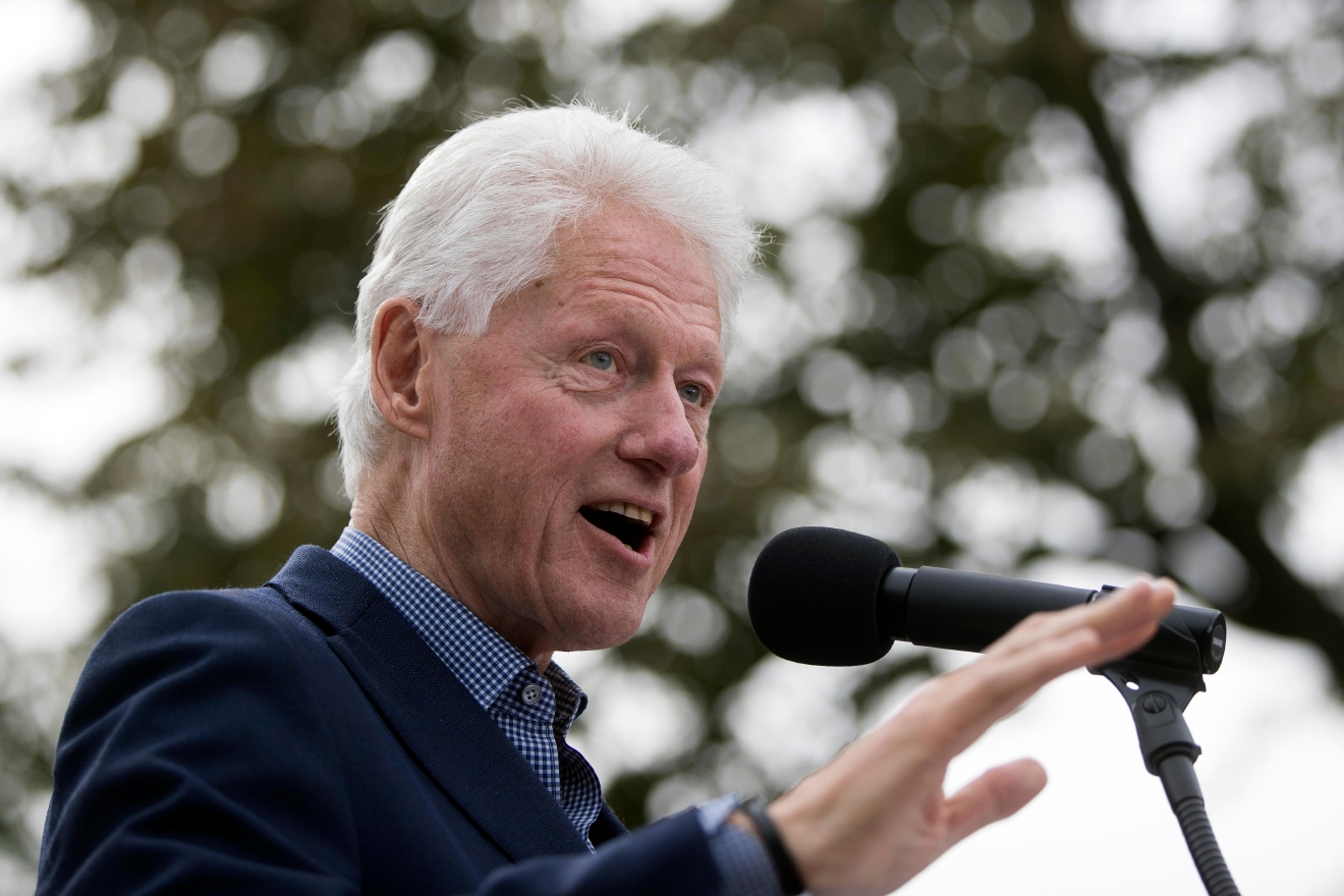 FILE - In this Oct. 14, 2016, file photo, former President Bill Clinton campaigns for his wife, Democratic presidential candidate Hillary Clinton, at Washington Park in Cincinnati. (AP Photo/John Minchillo, File)