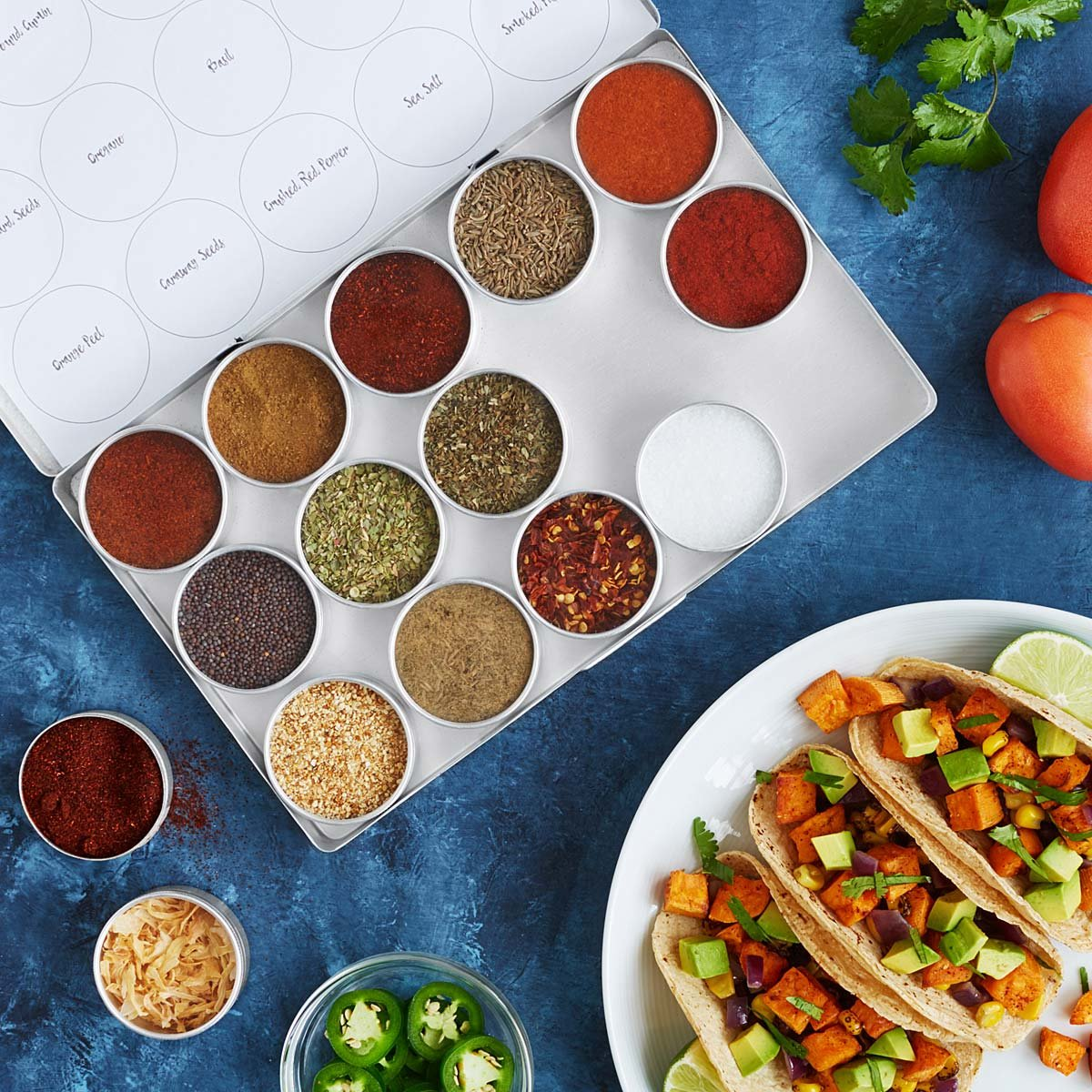 <p>Because Taco Tuesday is a real thing - duh.{&nbsp;} Opt for this Global Taco Seasoning Kit. 15 tins contain all the seasonings he'll need, plus recipes, for five knockout tacos from around the world. $38.00 (Image: Uncommongoods)</p><p></p>