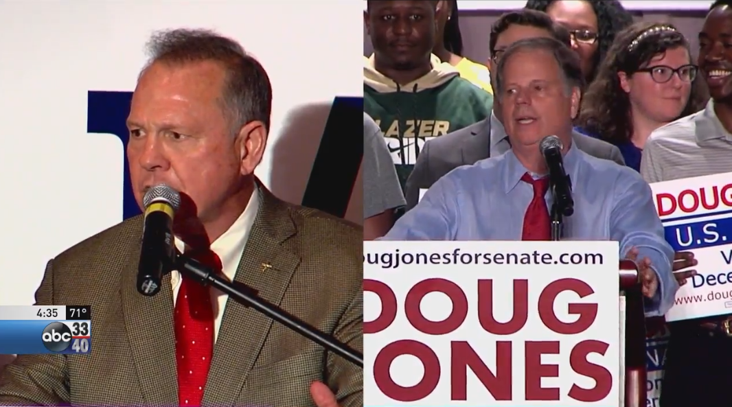 Republican Roy Moore and Democrat Doug Jones will square off in Alabama's Senate race.<p></p>