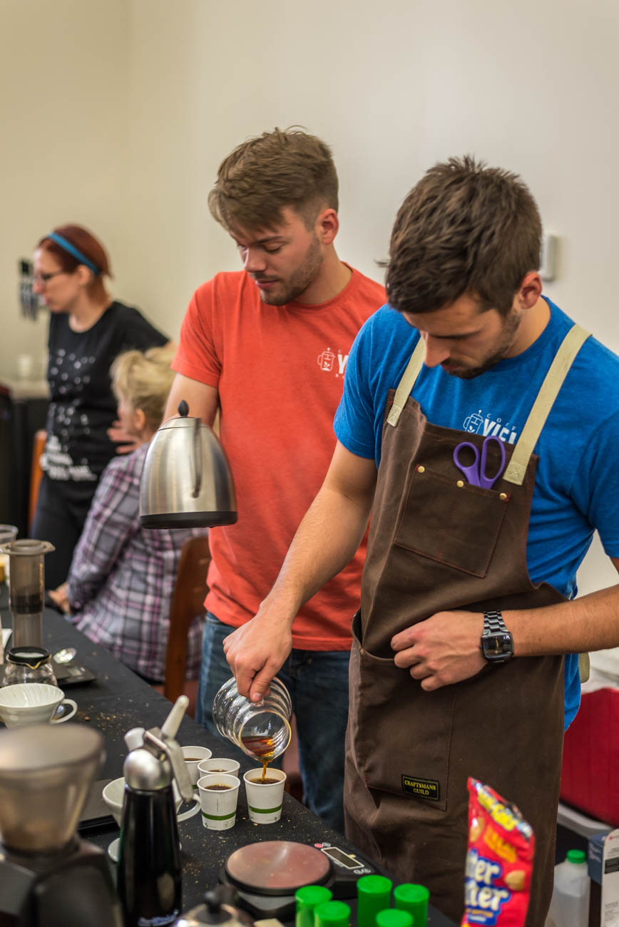 Luke Sherron and Kyle Rountree with Yield Roasters /{&amp;nbsp;}Image: Mike Menke<p></p>