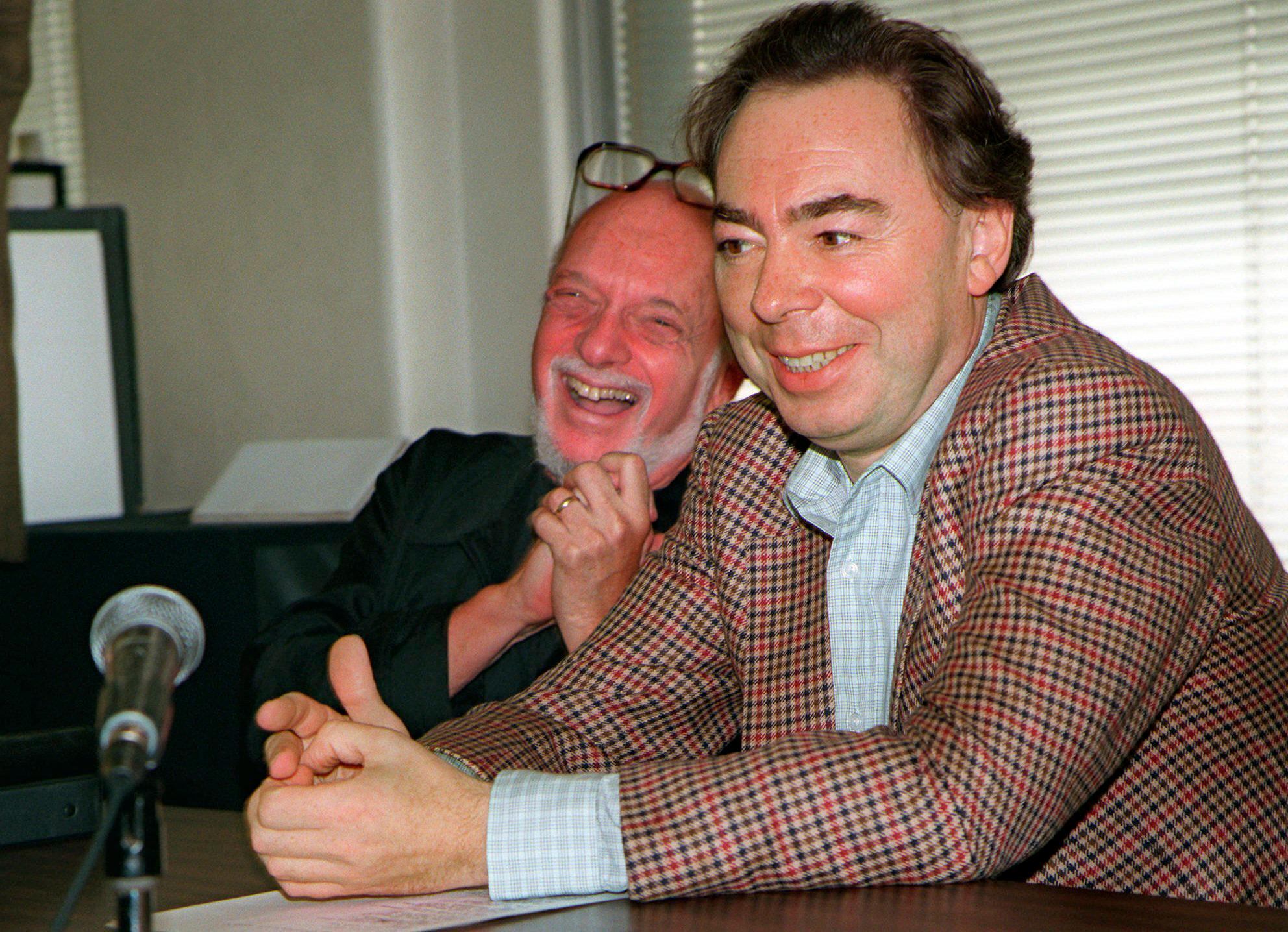 "FILE - This Oct. 21, 1996 file photo shows Harold Prince, left, and Andrew Lloyd Webber, face reporters during a news conference in New York announcing Webber's new musical, ""Whistle Down The Wind.""{ } (AP Photo/Anders Krusberg, File)"