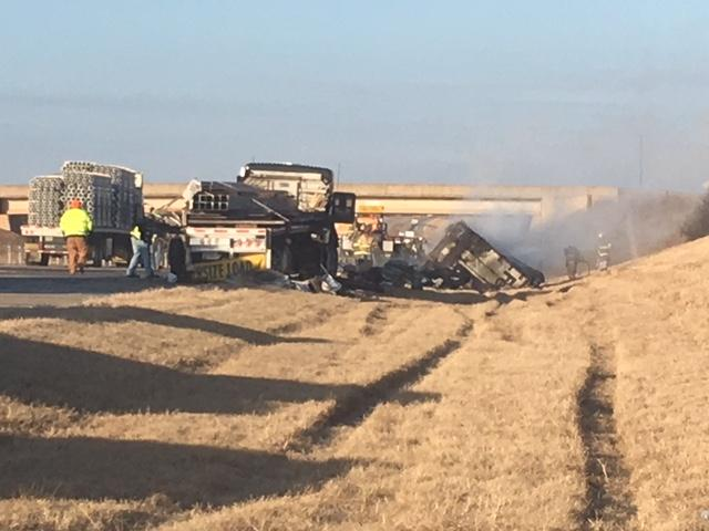 Troopers responded around 6:45 a.m. to a crash on westbound U.S. 412 near mile marker 40.5. A truck carrying an oversized load was on the side of the highway when a FedEx truck veered over to the side of the road and clipped the semi on the driver's side.{ } (KTUL)