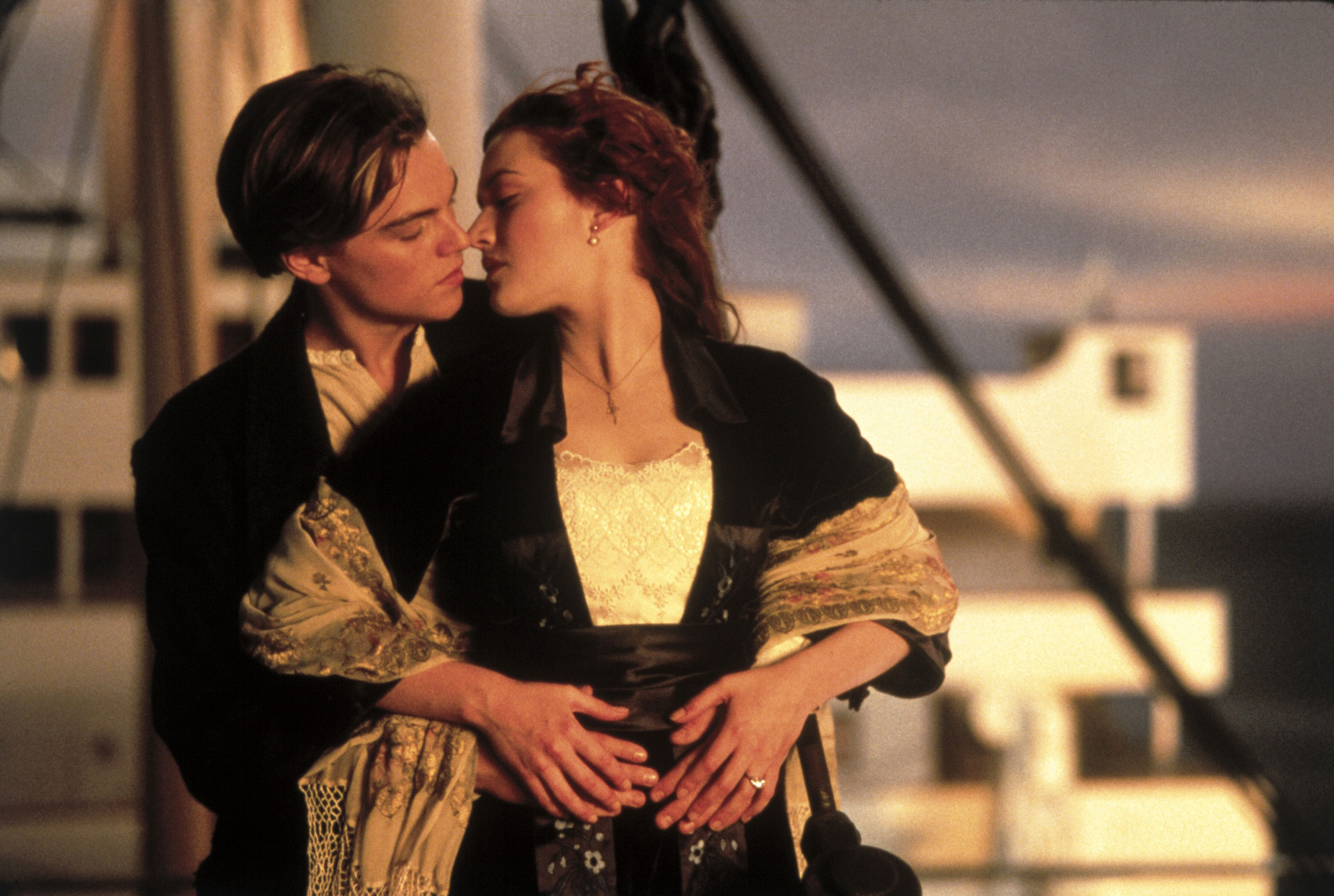 "Leonardo DiCaprio and Kate Winslet                  as Jack Dawson and Rose DeWitt Bukater in the film ""Titanic"" (1997). (WENN)"