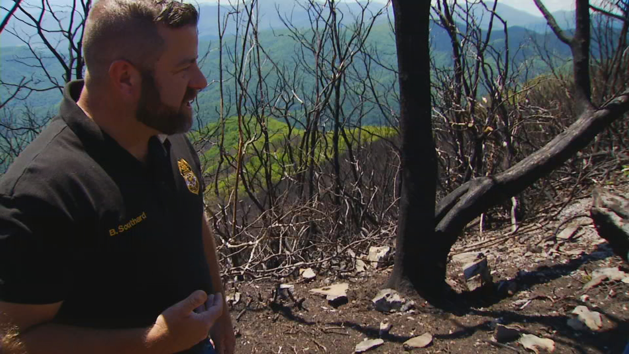 Brian Southard with the National Forest Service shows us how he investigates arson fires. (Photo credit: WLOS Staff)