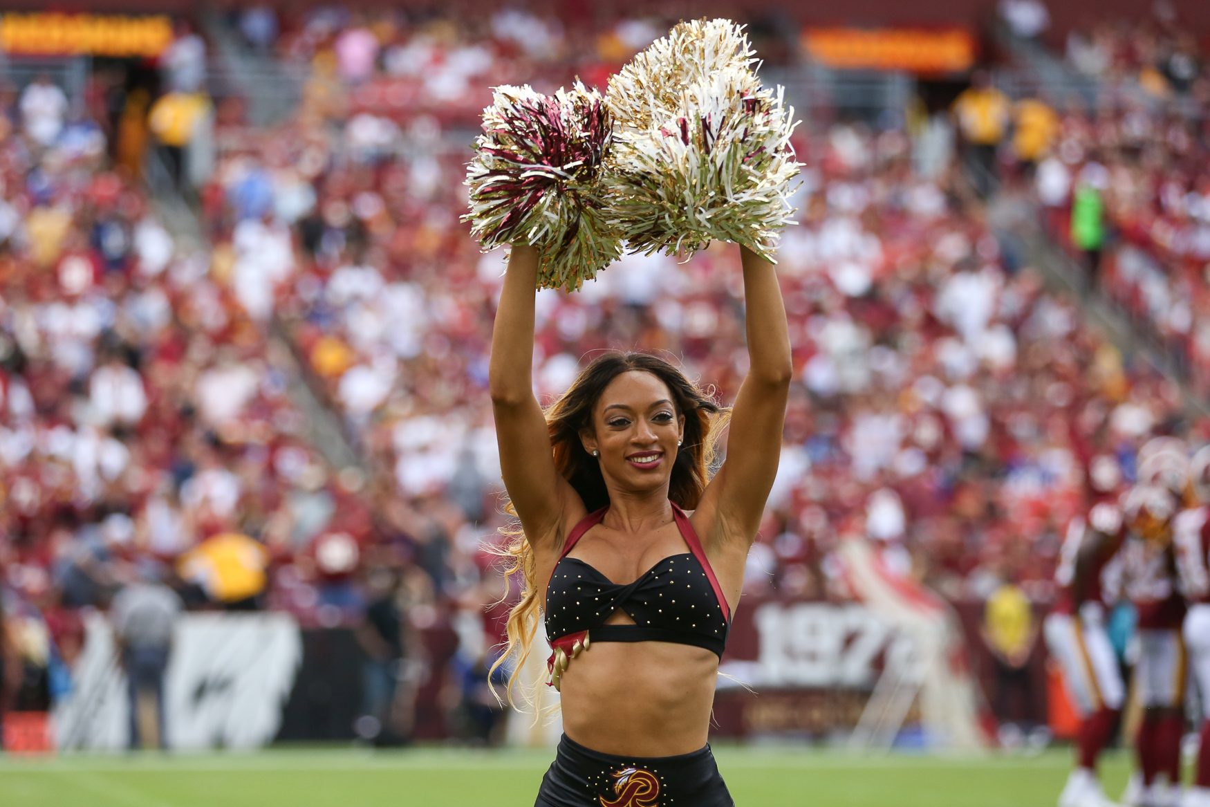 Although the Redskins lost their home opener to the Indianapolis Colts, the First Ladies of Football took to the field to cheer on the team. Here were our favorite moments from the Redskins cheerleading team. (Amanda Andrade-Rhoades/DC Refined)