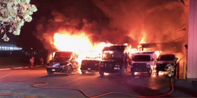 A fire at a UPS facility in Frederick caused major damage overnight. (Photo, Frederick County Fire Department){&amp;nbsp;}<p></p>