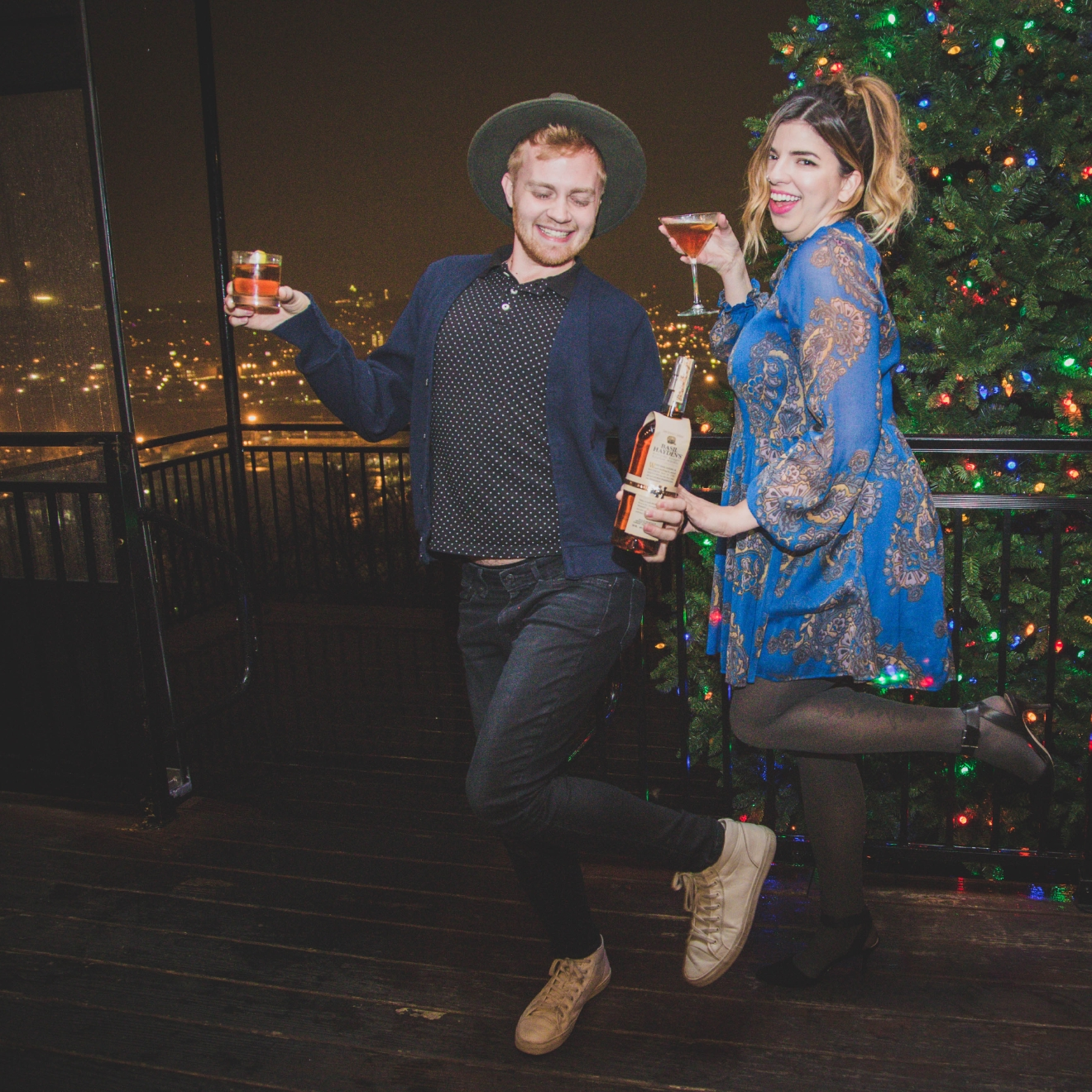 Garrett Douthitt in a hat from Zara, and outfit pieces from Izod, Levis, and Old Navy along with Becca Cowles in a Free People dress with accessories from etsy at Incline Public House. / Image: Catherine Viox // Published: 12.23.16