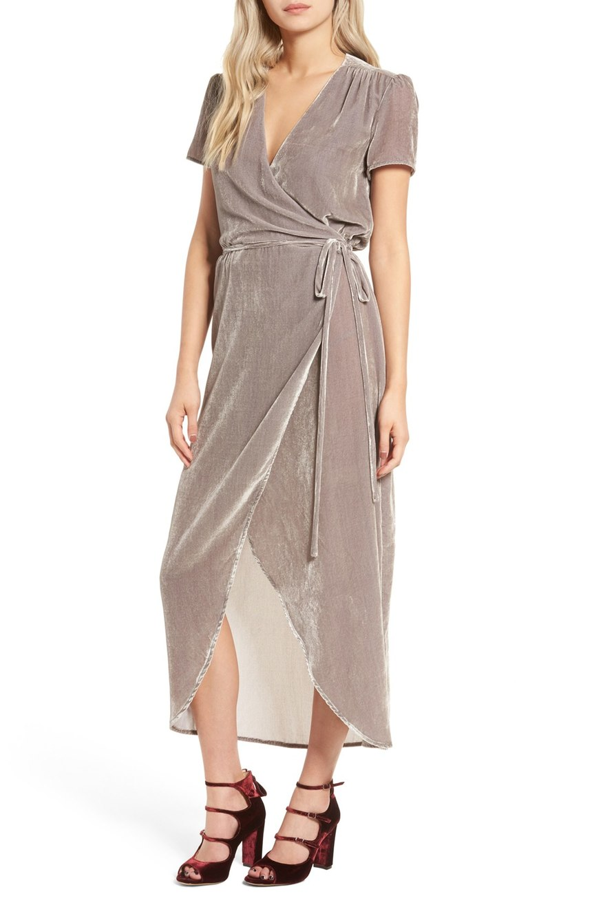 Another body flattering option. Get this 'Next to You Velvet Wrap Dress' for any party occasion. $119.00 (Image: Nordstrom)