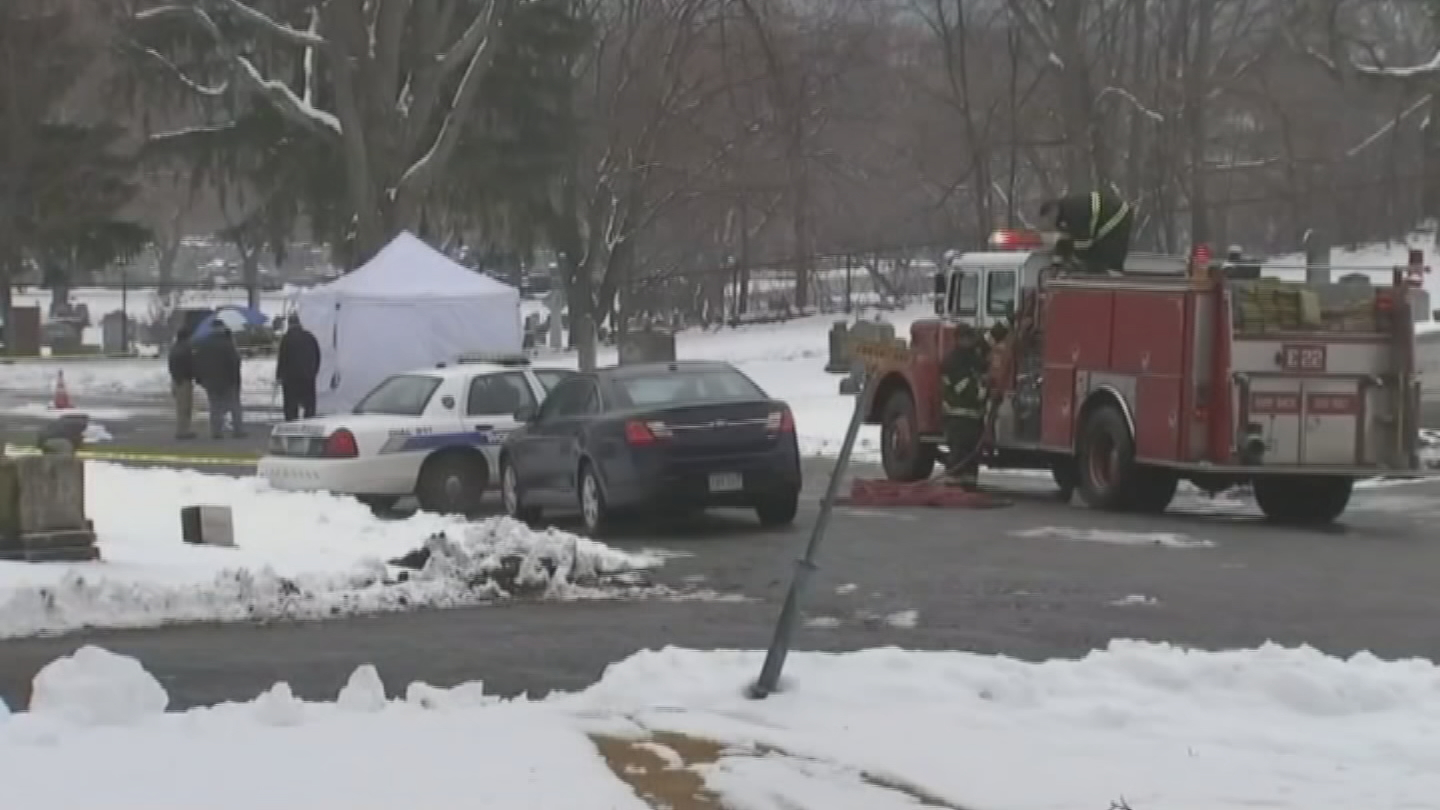 Worcester police said a body was found inside a burning car in Hope Cemetery, Tuesday, Dec. 12, 2017.  (WHDH/CNN)