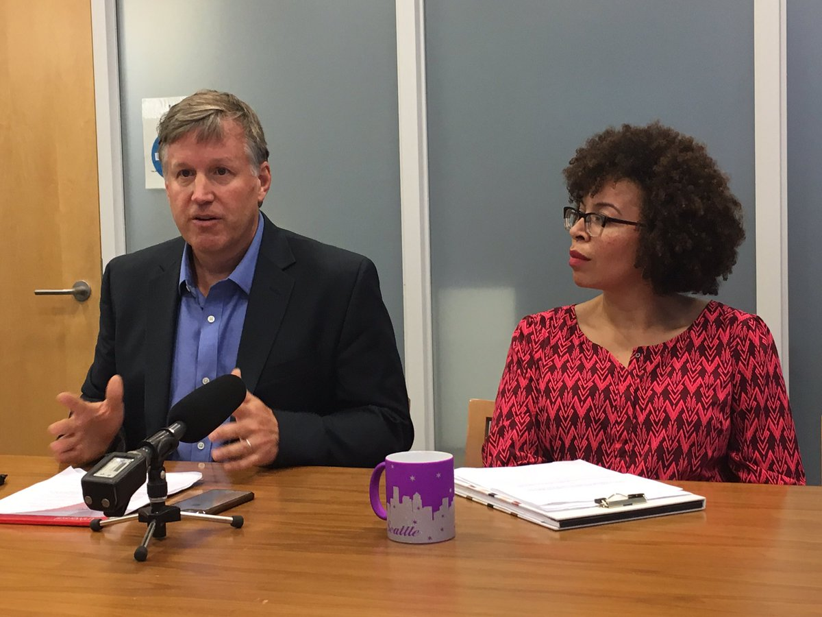 "Council member Mike O'Brien and Kirsten Harris-Talley, the interim council member, are pushing a plan to establish a ""head tax"" on the city's wealthiest businesses. (KOMO News)<p></p>"